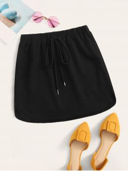 Casual Straight Plain Mid Waist Black Mini Length Tie Waist Curved Hem Skirt