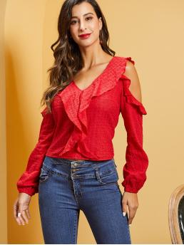 Cute and Boho Plain Top Regular Fit V neck Long Sleeve Bishop Sleeve Pullovers Red and Bright Regular Length SBetro Open Shoulder Ruffle Trim Schiffy Top