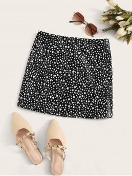 Casual Straight Geometric Mid Waist Black and White Mini Length Star Print Zip Back Faux Leather Straight Skirt