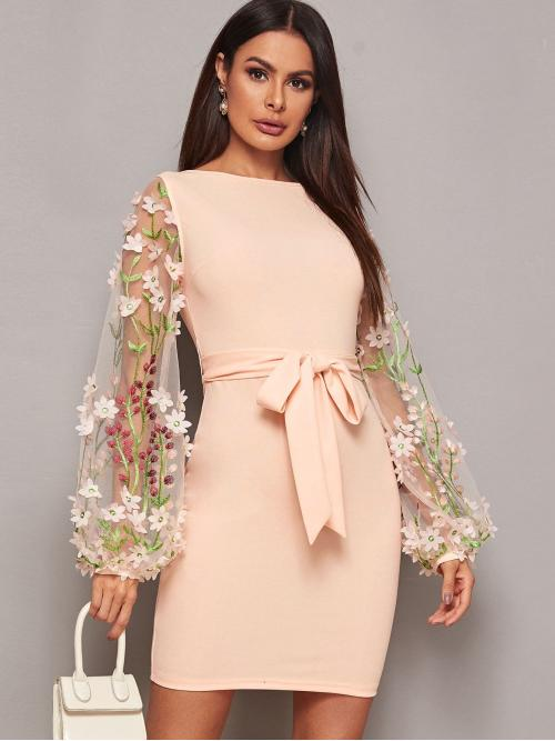 Elegant Bodycon Floral Pencil Slim Fit Round Neck Long Sleeve Flounce Sleeve Natural Pink and Pastel Short Length 3D Applique Embroidered Mesh Sleeve Belted Bodycon Dress with Belt