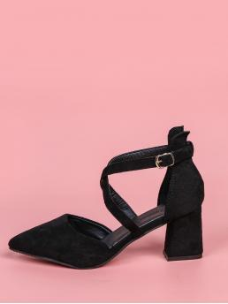 Black Court Pumps High Heel Chunky Minimalist Cross Strap Pumps on Sale