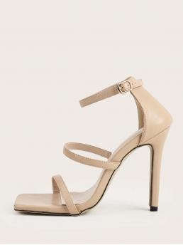 Apricot Ultra High Heel Stiletto Open Toe Triple Strap Heeled Sandals Clearance