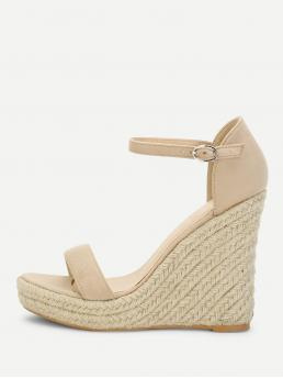 Affordable Corduroy Apricot Flatfrom Shoes Bow Two Part Espadrille Wedge Sandals