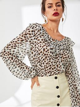 Casual Leopard Top Regular Fit V neck Long Sleeve Pullovers Multicolor Regular Length Ruffle Detail Leopard Print Top