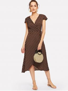 Casual A Line Polka Dot Wrap Loose V neck Cap Sleeve Natural Brown Long Length Surplice Neck Knot Dot Dress