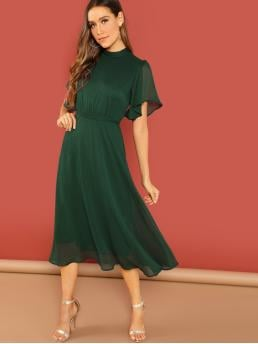 Pretty Dark Green Plain Knot Stand Collar Flutter Sleeve Sheer Back Self Tie Dress