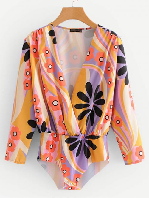 Long Sleeve Shirt Knot Polyester & Geo Pattern Bodysuit Pretty