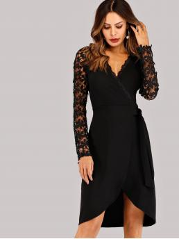 Womens Black Plain Contrast Lace V Neck Surplice Dress