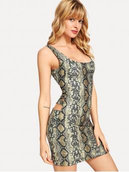 Sexy Animal Pencil Straps Sleeveless Multicolor Mini Length Cut Out Back Snake Print Dress