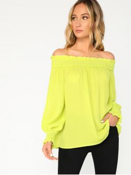 Casual Plain Top Regular Fit Off the Shoulder Long Sleeve Bishop Sleeve Pullovers Green and Bright Regular Length Neon Lime Shirred Trim Off Shoulder Top