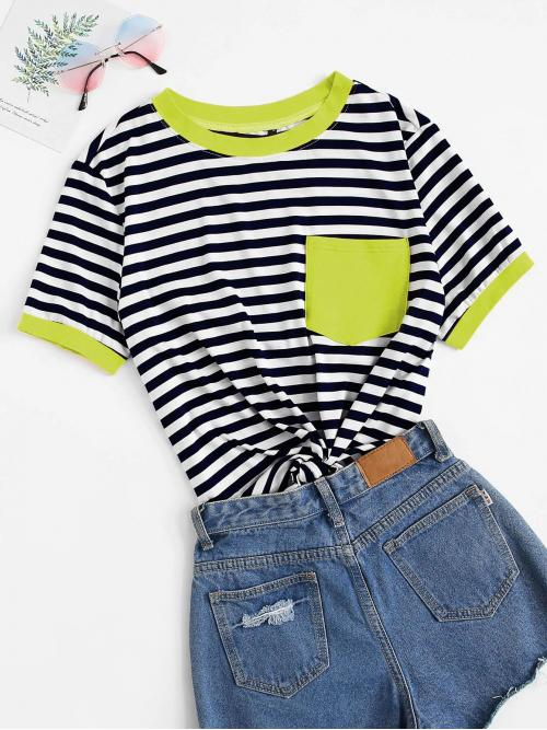 Casual Striped Regular Fit Round Neck Short Sleeve Pullovers Multicolor Regular Length Neon Green Pocket Patched Striped Ringer Tee