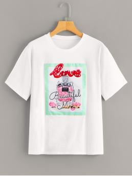 Casual Regular Fit Round Neck Short Sleeve Pullovers White Regular Length Perfume Print Patched Tee