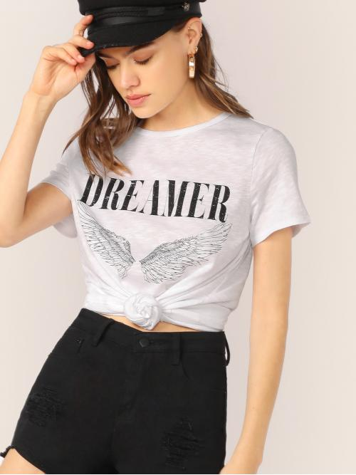 Casual Letter and Graphic Top Regular Fit Round Neck Short Sleeve Regular Sleeve Pullovers White Regular Length Crew Neck Dream Graphic Jersey Short Sleeve Tee