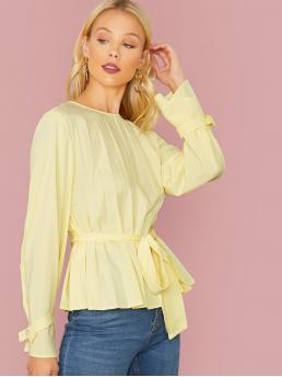 Elegant Plain Flared Peplum Regular Fit Round Neck Long Sleeve Pullovers Yellow and Pastel Regular Length Knot Cuff Pleated Belted Top with Belt