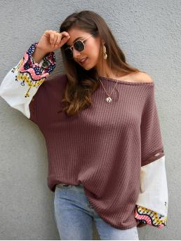 Casual Colorblock and Tribal Oversized Boat Neck Long Sleeve Pullovers Nude Regular Length Contrast Bishop Sleeve Tribal Print Oversized Tee