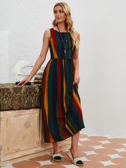 Multicolor Striped Round Neck Long Rainbow Dress Discount