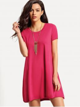 Women's Pink Plain Fringe Round Neck Neon Basic Shift Dress