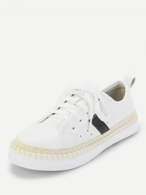 Corduroy White Skate Shoes Bow Pu Sneakers on Sale