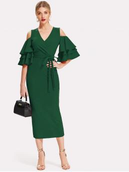 Womens Green Plain Tiered Layer Cold Shoulder Open Shoulder Tiered Sleeve Surplice Dress