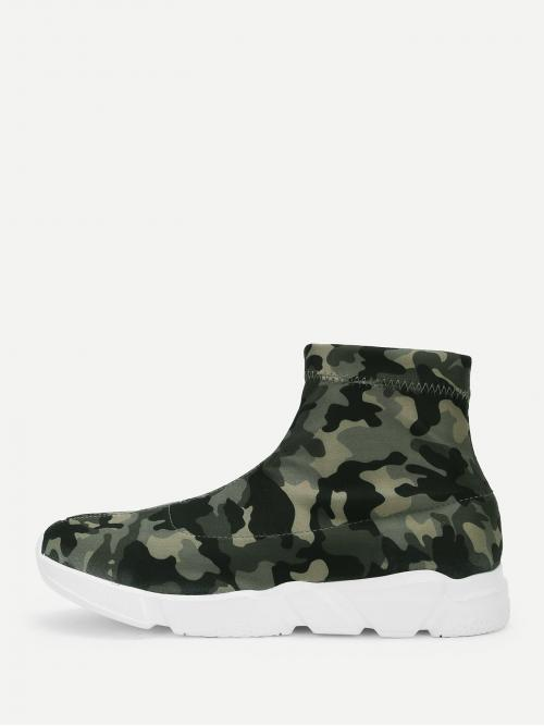 Round Toe Leopard Multicolor Camo Print High Top Chunky Sneakers