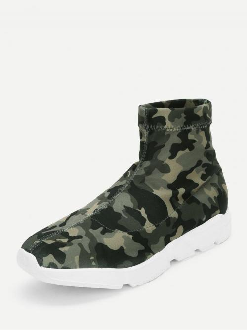 Tweed Multicolor a Line Zipper Camo Print High Top Chunky Sneakers Shopping