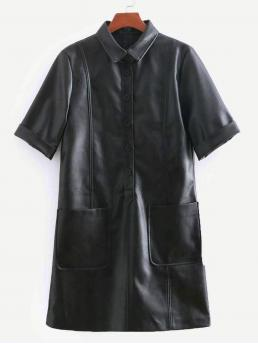 Black Plain Pocket Collar Faux Leather Dual Dress on Sale