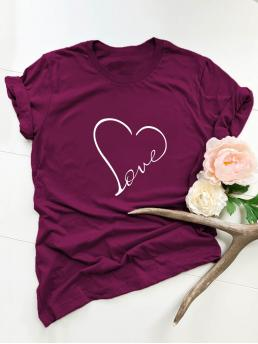 Casual Letter and Heart Regular Fit Round Neck Short Sleeve Pullovers Burgundy Regular Length Heart & Letter Graphic Tee