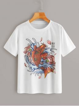 Casual Animal Regular Fit Round Neck Short Sleeve Regular Sleeve Pullovers White Regular Length Goldfish & Chinese Characters Print Tee