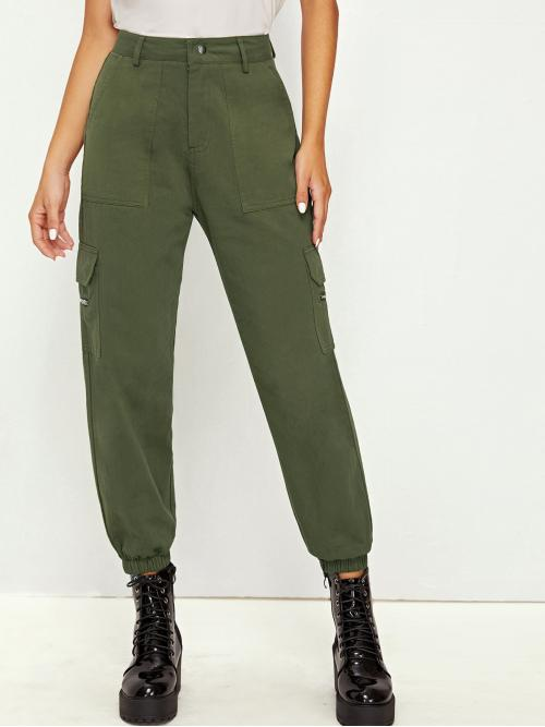 Casual Plain Cargo Pants Regular Button Fly Mid Waist Army Green Cropped Length Pocket Side Solid Cargo Pants