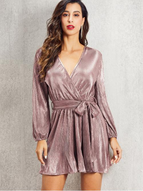 Glamorous A Line Plain Pleated Regular Fit V neck Long Sleeve Bishop Sleeve High Waist Pink and Pastel Short Length SBetro Surplice Neck Pleated Belted Dress with Belt
