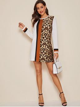 Casual Tee Striped and Leopard Straight Regular Fit Round Neck Long Sleeve Regular Sleeve Natural Multicolor Short Length Colorblock Leopard Panel Tee Dress