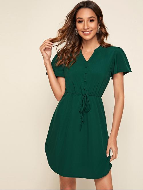 Casual A Line Plain Flared Regular Fit Notched Short Sleeve Butterfly Sleeve High Waist Green Short Length Notched Drawstring Waist A-line Dress
