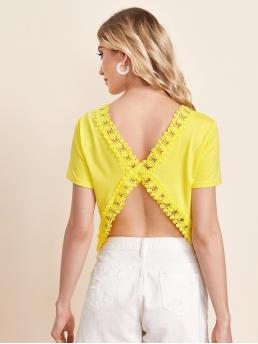 Women's Short Sleeve Criss Cross Polyester Plain Yellow Guipure Lace Detail Open Back Top