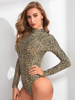 Long Sleeve Tee Polyester Leopard Fitted Bodysuit Beautiful