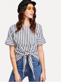 Casual Striped Asymmetrical Top Regular Fit Round Neck Short Sleeve Navy Regular Length Knot Front Keyhole Back Flounce Sleeve Striped Top