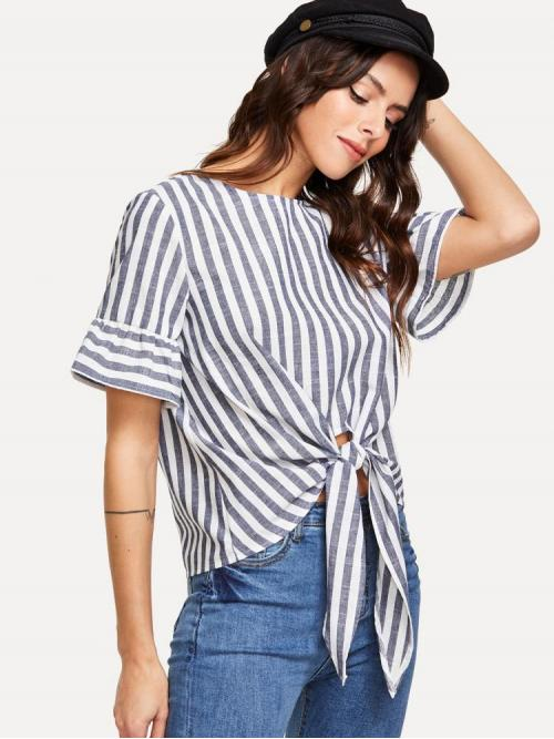 Short Sleeve Top Button Mesh Knot Front Keyhole Back Top Fashion