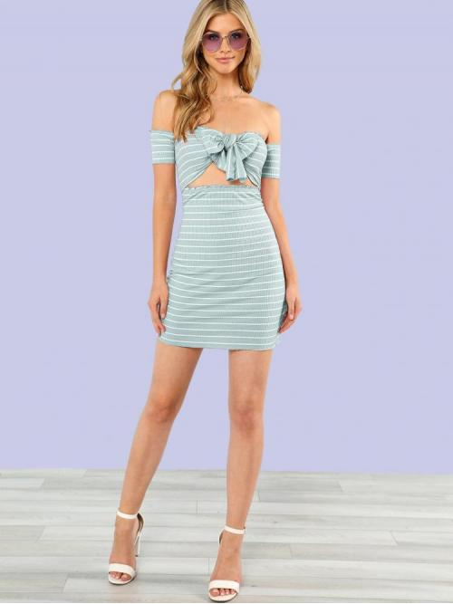 Green Striped Frill off the Shoulder Lettuce Edge Knot Front Bardot Dress Clearance