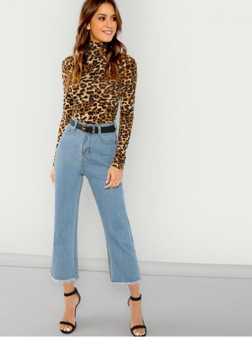 Three Quarter Length Sleeve Shirt Belted Leopard Fitted Top Pretty