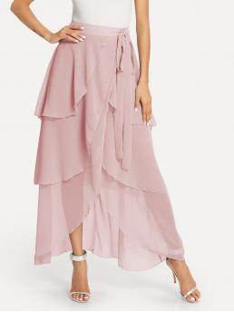 Affordable Pink Natural Waist Tiered Layer Wrap Layered