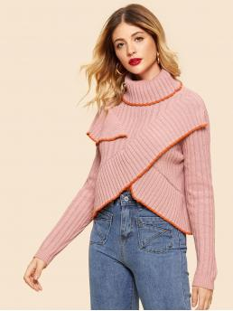 Fashion Long Sleeve Pullovers Ruffle Tweed Contrast Tipping Overlap Front Sweater