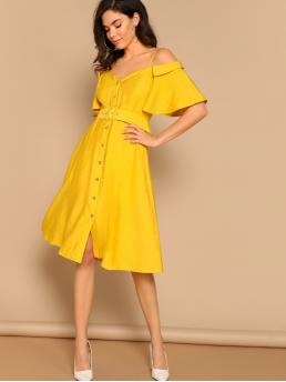 Boho Plain Sweetheart Short Sleeve High Waist Yellow and Bright Midi Length Cold Shoulder Sweetheart Button Front Belted Dress with Belt with Lining