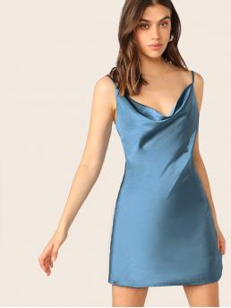 Sexy Cami Plain Straight Loose Cowl Neck Sleeveless Natural Blue Mini Length Satin Cowl Neck Sleeveless Mini Dress with Lining