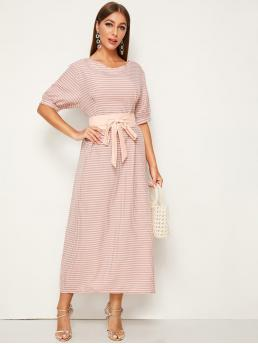 Casual A Line Gingham Straight Regular Fit V neck Half Sleeve High Waist Pink Maxi Length Gingham Puff Sleeve Belted Dress with Belt