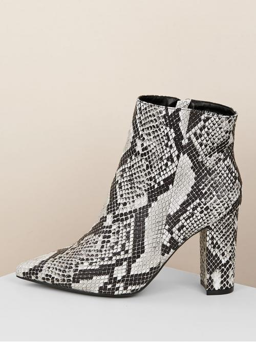 Glamorous Other Point Toe Snakeskin Print Side zipper Multicolor High Heel Chunky Snakeskin Pointed Toe Chunky Heel Booties