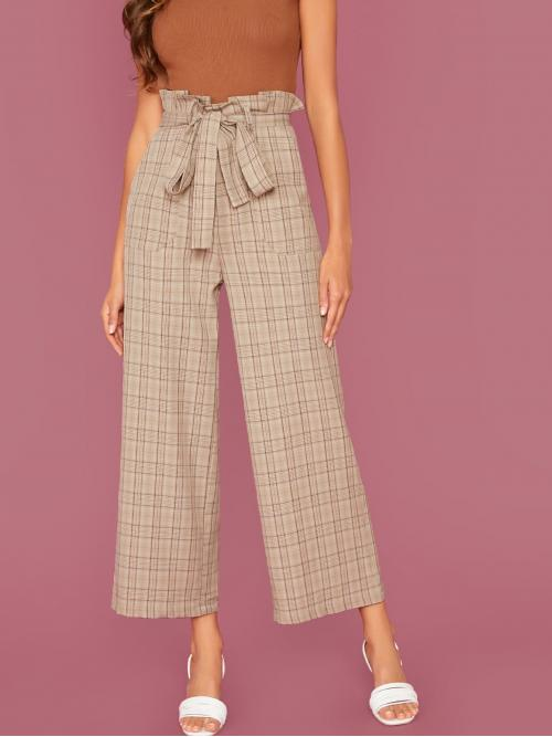 Preppy Plaid Wide Leg Loose Zipper Fly High Waist Khaki and Pastel Cropped Length Plaid Paperbag Waist Belted Wide Leg Pants with Belt