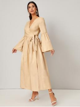 Pastel Plain Belted V Neck Bell Sleeve Flare Dress Ladies