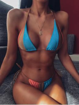 Sexy Sets Colorblock Triangle Halter Top Multicolor Colorblock Halter Top With Tie Side Bikini Set with Lining
