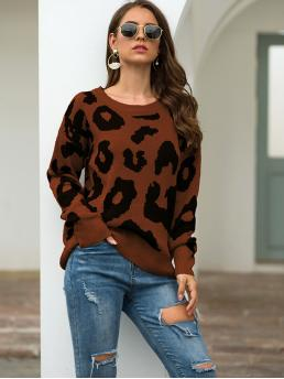 Casual Leopard Pullovers Regular Fit Round Neck Long Sleeve Regular Sleeve Pullovers Brown Regular Length Leopard Print Round Neck Jumper