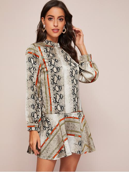 Elegant Smock Snakeskin Print and Chain Print Loose Stand Collar Long Sleeve Regular Sleeve Multicolor Short Length Snakeskin And Chain Print Smock Dress