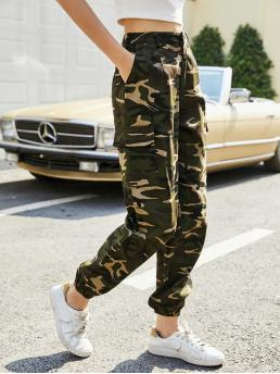 Clearance Multicolor High Waist Pocket Cargo Pants Side Flap Cargo Pants
